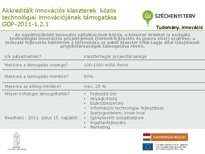 Akkreditált innovációs klaszterek közös technológiai innovációjának támogatása GOP-2011 -1. 2. 1 Tudomány, innováció Az