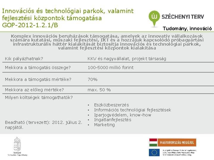 Innovációs és technológiai parkok, valamint fejlesztési központok támogatása GOP-2012 -1. 2. 1/B Tudomány, innováció