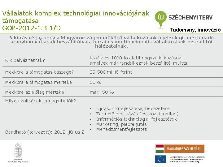 Vállalatok komplex technológiai innovációjának támogatása GOP-2012 -1. 3. 1/D Tudomány, innováció A kiírás célja,