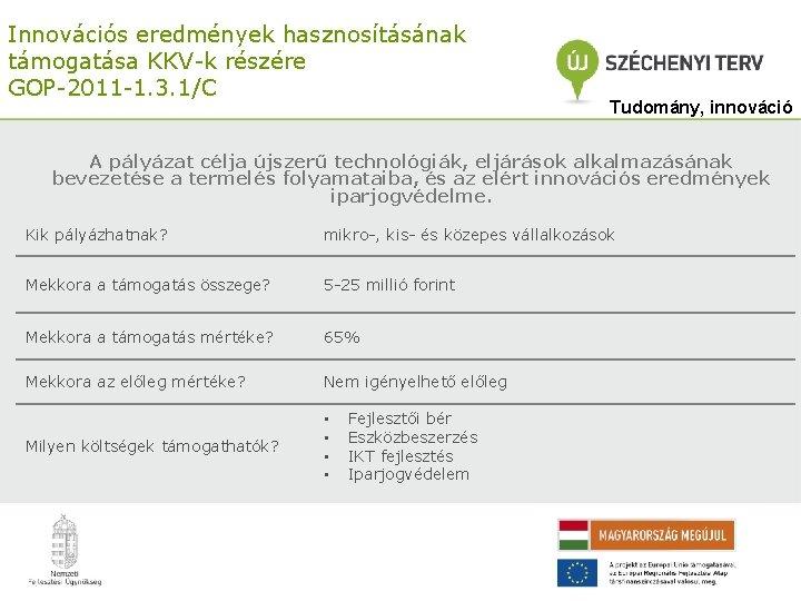 Innovációs eredmények hasznosításának támogatása KKV-k részére GOP-2011 -1. 3. 1/C Tudomány, innováció A pályázat