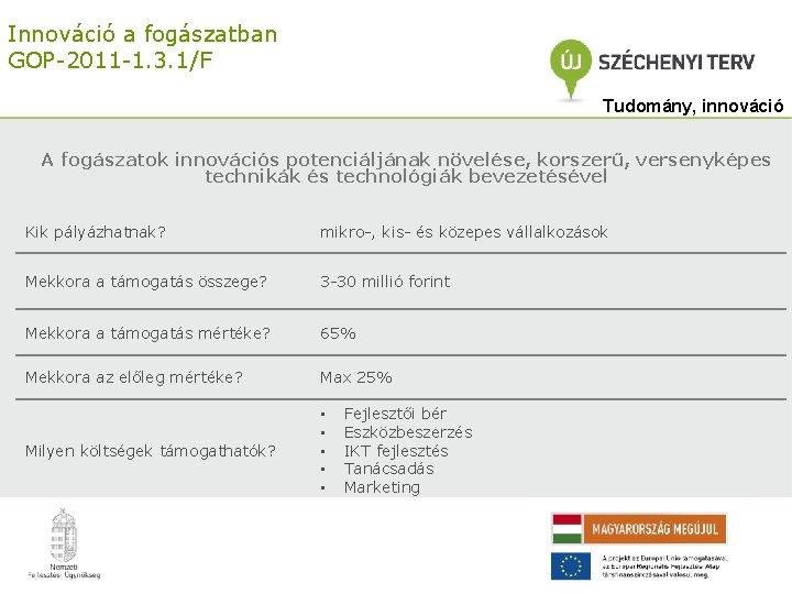 Innováció a fogászatban GOP-2011 -1. 3. 1/F Tudomány, innováció A fogászatok innovációs potenciáljának növelése,
