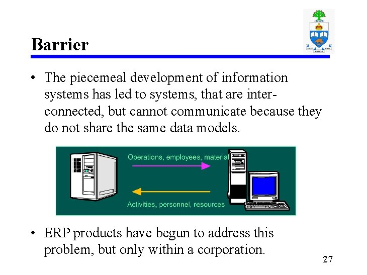 Barrier • The piecemeal development of information systems has led to systems, that are