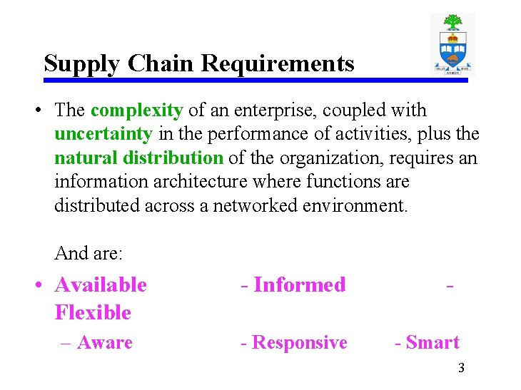 Supply Chain Requirements • The complexity of an enterprise, coupled with uncertainty in the