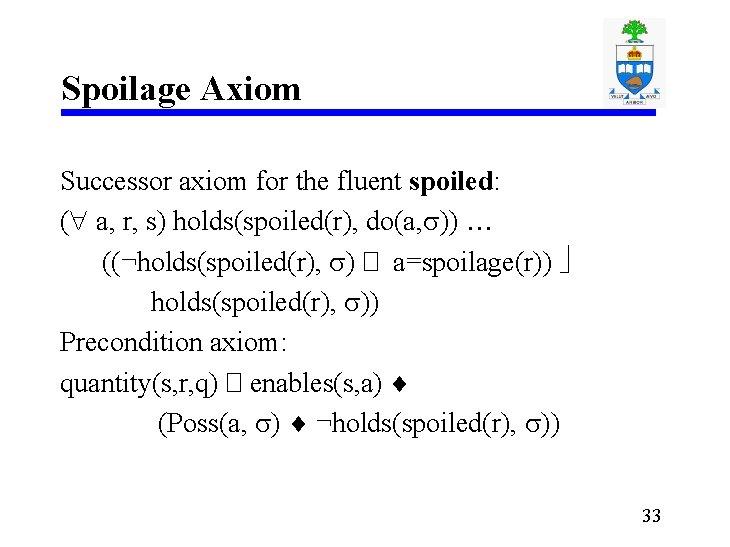 Spoilage Axiom Successor axiom for the fluent spoiled: ( a, r, s) holds(spoiled(r), do(a,