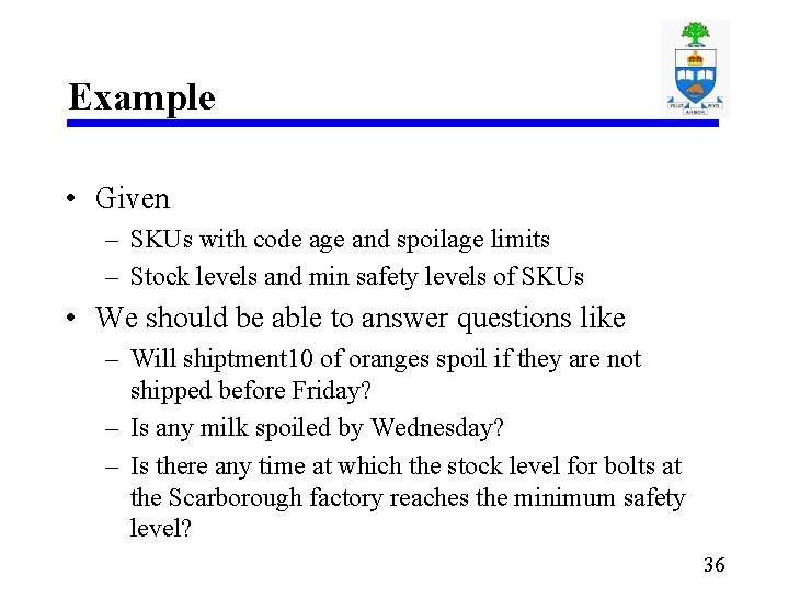 Example • Given – SKUs with code age and spoilage limits – Stock levels