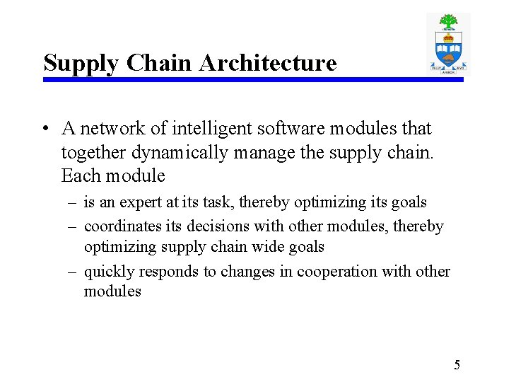 Supply Chain Architecture • A network of intelligent software modules that together dynamically manage