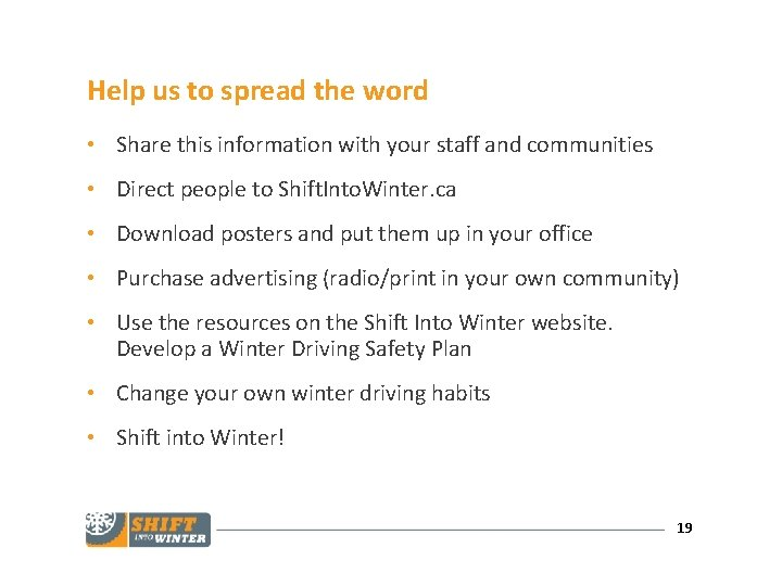 Help us to spread the word • Share this information with your staff and