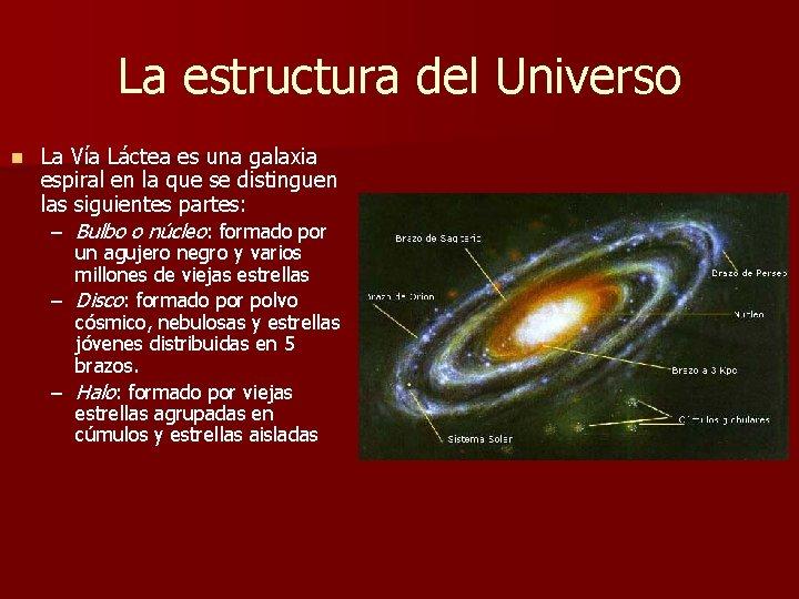 La estructura del Universo n La Vía Láctea es una galaxia espiral en la