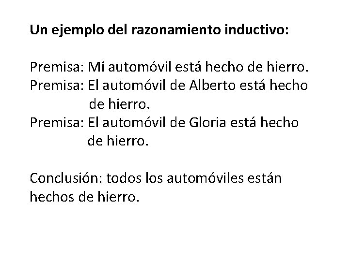 Un ejemplo del razonamiento inductivo: Premisa: Mi automóvil está hecho de hierro. Premisa: El