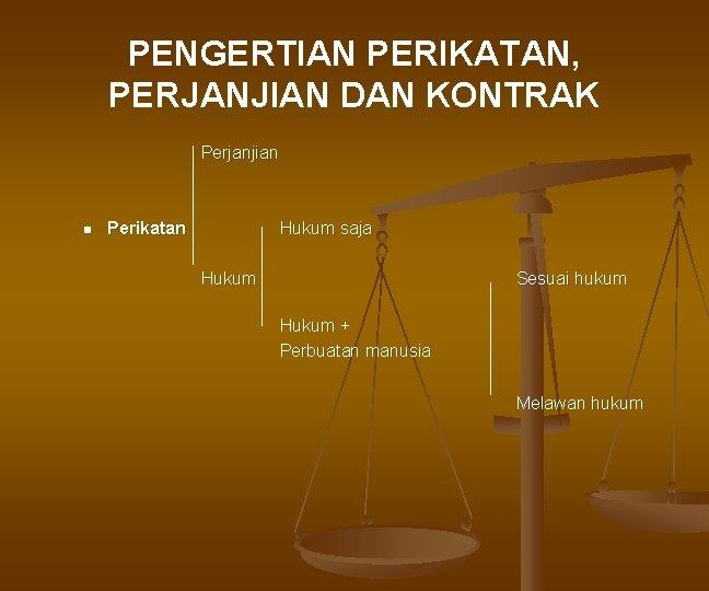 PENGERTIAN PERIKATAN, PERJANJIAN DAN KONTRAK Perjanjian n Perikatan Hukum saja Hukum Sesuai hukum Hukum
