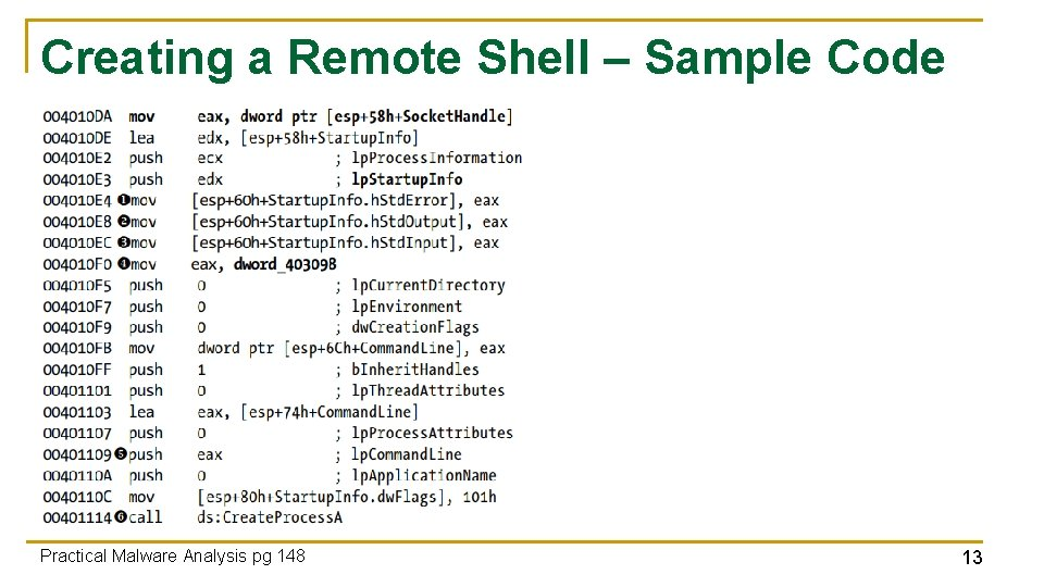 Creating a Remote Shell – Sample Code Practical Malware Analysis pg 148 13