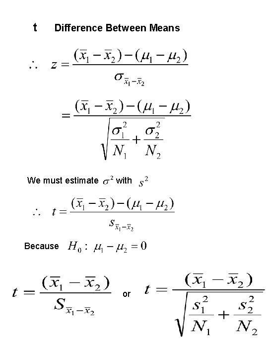 t Difference Between Means We must estimate with Because or