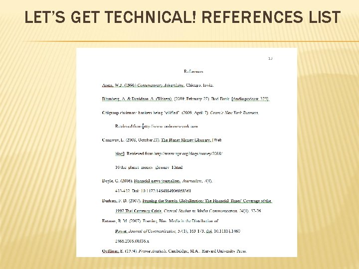 LET'S GET TECHNICAL! REFERENCES LIST