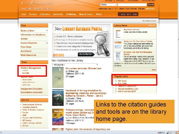 Links to the citation guides and tools are on the library home page.