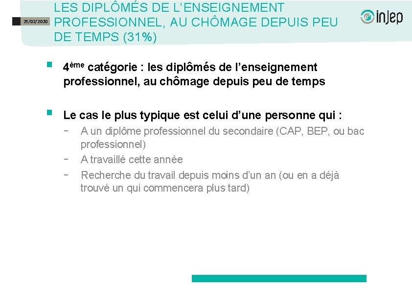 25/02/2020 LES DIPLÔMÉS DE L'ENSEIGNEMENT PROFESSIONNEL, AU CHÔMAGE DEPUIS PEU DE TEMPS (31%) §
