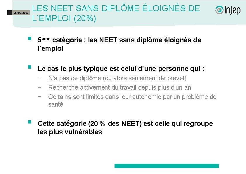 25/02/2020 LES NEET SANS DIPLÔME ÉLOIGNÉS DE L'EMPLOI (20%) § 5ème catégorie : les