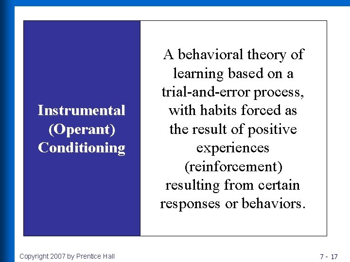 Instrumental (Operant) Conditioning Copyright 2007 by Prentice Hall A behavioral theory of learning based