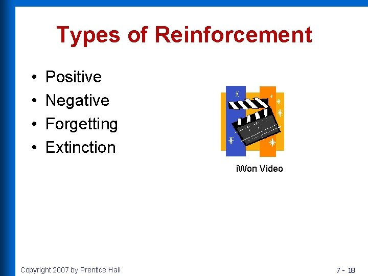 Types of Reinforcement • • Positive Negative Forgetting Extinction i. Won Video Copyright 2007