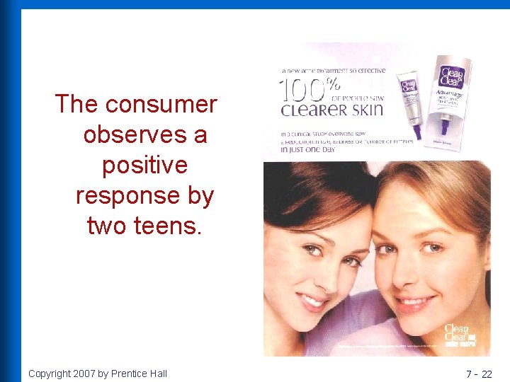The consumer observes a positive response by two teens. Copyright 2007 by Prentice Hall