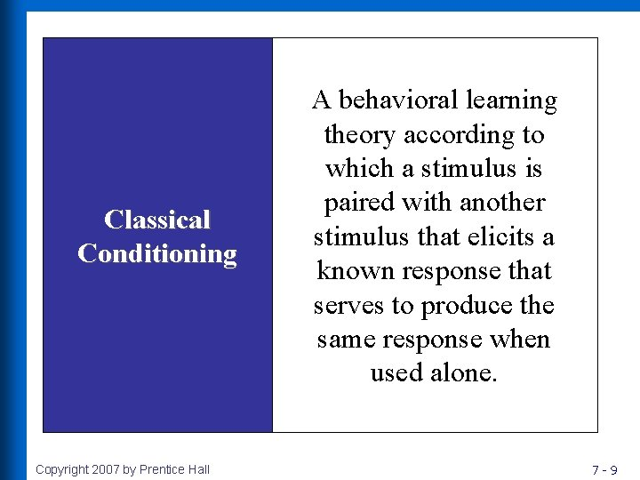 Classical Conditioning Copyright 2007 by Prentice Hall A behavioral learning theory according to which