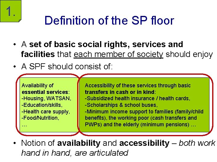 1. Definition of the SP floor • A set of basic social rights, services