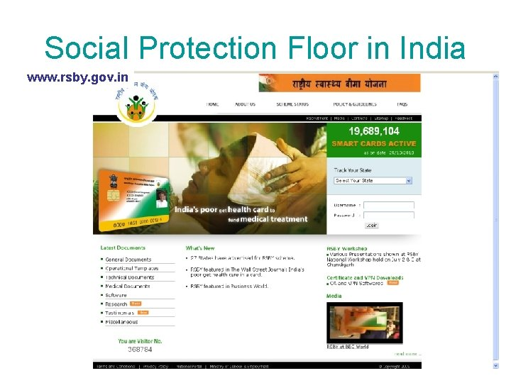 Social Protection Floor in India www. rsby. gov. in