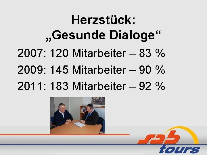 """Herzstück: """"Gesunde Dialoge"""" 2007: 120 Mitarbeiter – 83 % 2009: 145 Mitarbeiter – 90"""