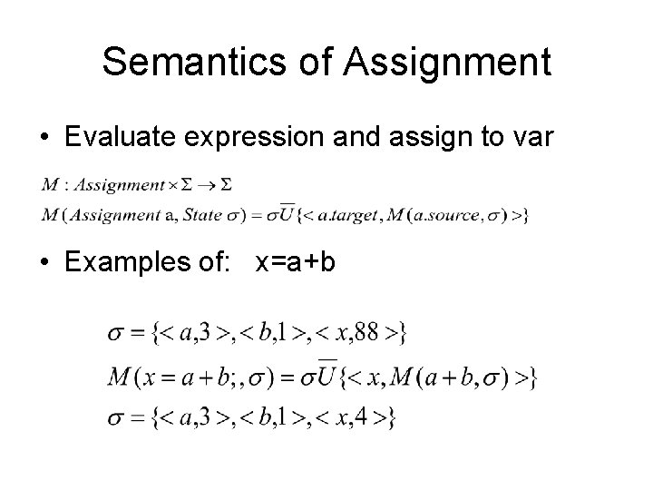 Semantics of Assignment • Evaluate expression and assign to var • Examples of: x=a+b