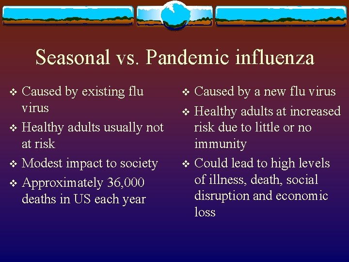 Seasonal vs. Pandemic influenza Caused by existing flu virus v Healthy adults usually not