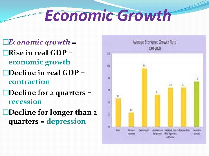 Economic Growth �Economic growth = �Rise in real GDP = economic growth �Decline in