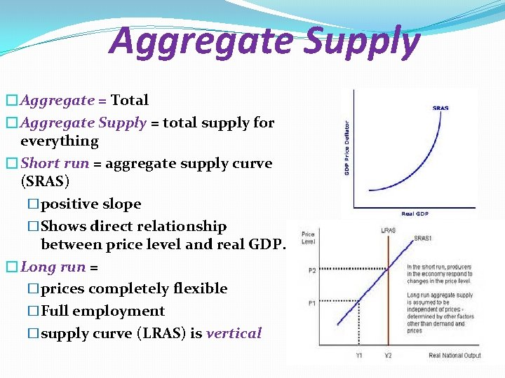 Aggregate Supply �Aggregate = Total �Aggregate Supply = total supply for everything �Short run