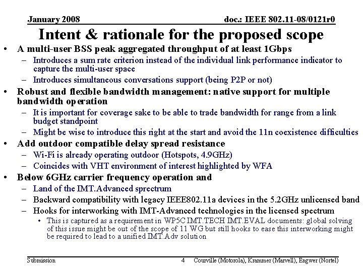 January 2008 doc. : IEEE 802. 11 -08/0121 r 0 Intent & rationale for
