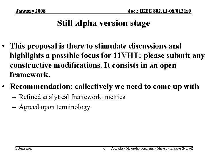 January 2008 doc. : IEEE 802. 11 -08/0121 r 0 Still alpha version stage