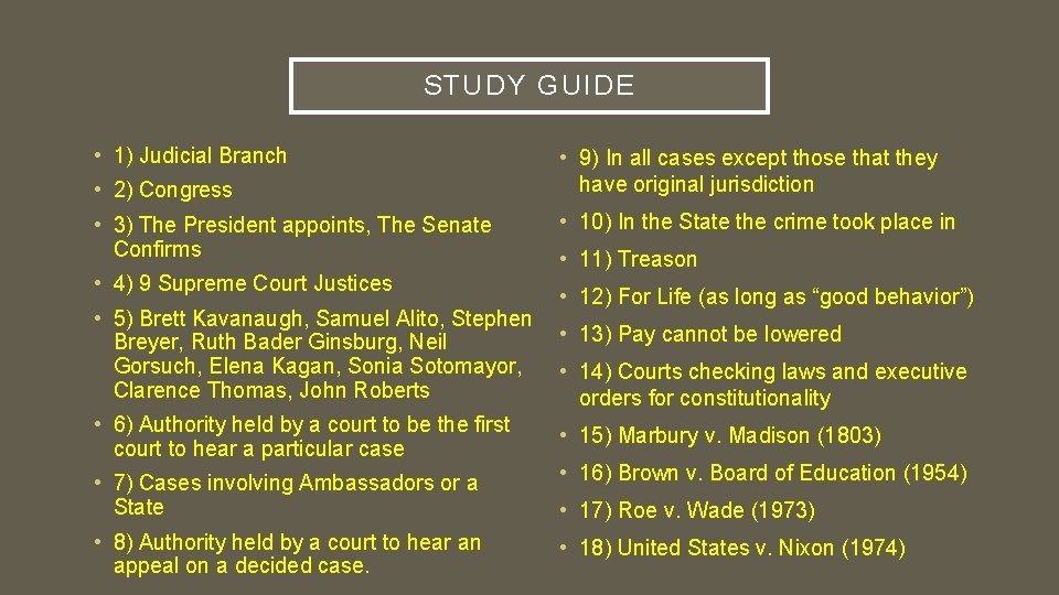 STUDY GUIDE • 1) Judicial Branch • 2) Congress • 3) The President appoints,