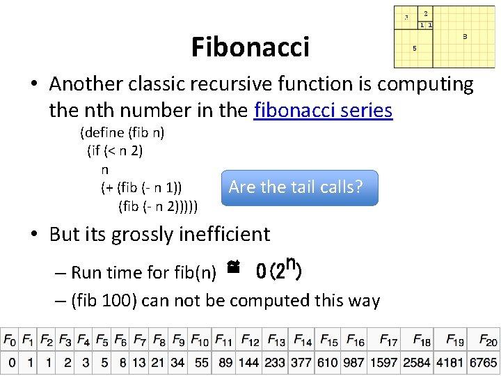 Fibonacci • Another classic recursive function is computing the nth number in the fibonacci