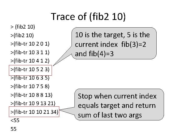 Trace of (fib 2 10) >(fib-tr 10 2 0 1) >(fib-tr 10 3 1
