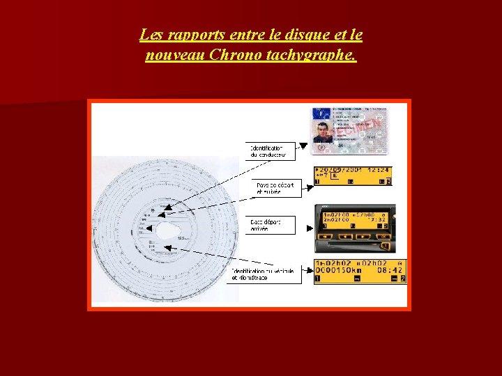 Les rapports entre le disque et le nouveau Chrono tachygraphe.