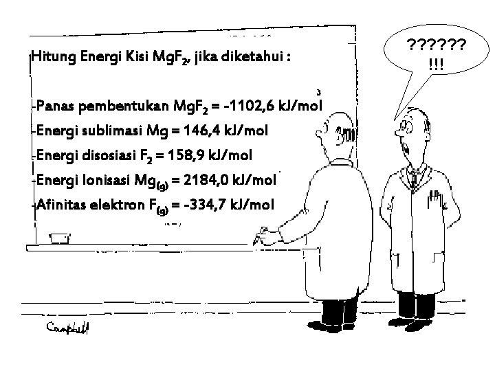 Hitung Energi Kisi Mg. F 2, jika diketahui : -Panas pembentukan Mg. F 2