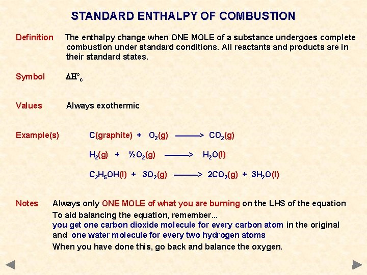 STANDARD ENTHALPY OF COMBUSTION Definition The enthalpy change when ONE MOLE of a substance