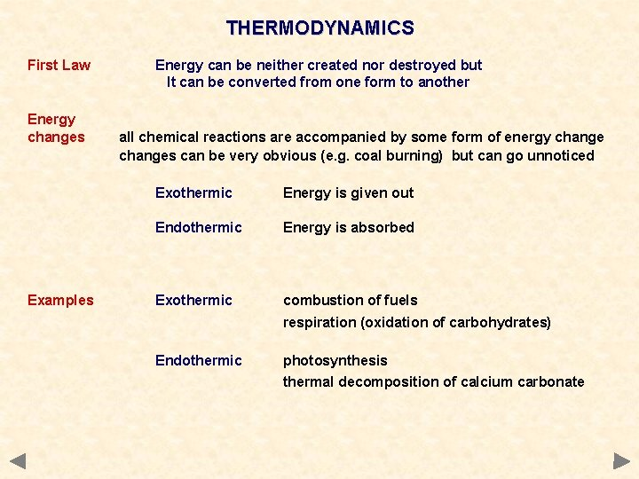 THERMODYNAMICS First Law Energy changes Examples Energy can be neither created nor destroyed but