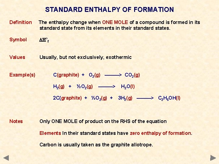 STANDARD ENTHALPY OF FORMATION Definition The enthalpy change when ONE MOLE of a compound