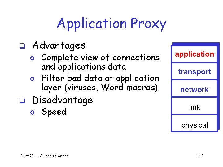 Application Proxy q Advantages o Complete view of connections and applications data o Filter