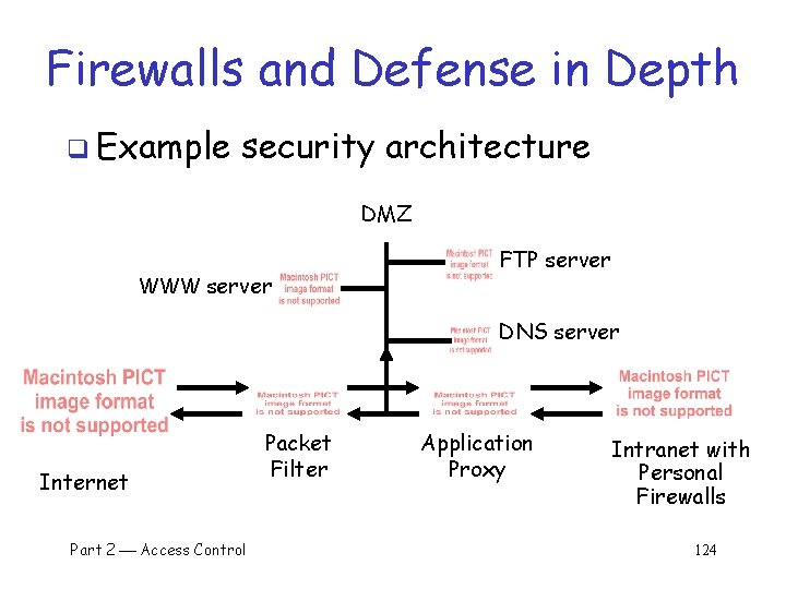 Firewalls and Defense in Depth q Example security architecture DMZ WWW server FTP server