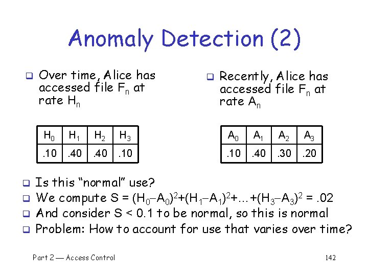 Anomaly Detection (2) q q q Over time, Alice has accessed file Fn at