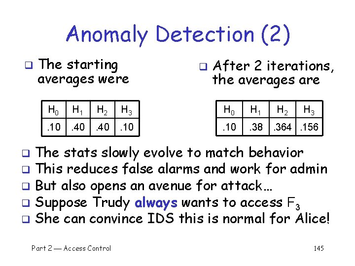 Anomaly Detection (2) q The starting averages were q After 2 iterations, the averages