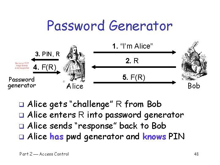 "Password Generator 1. ""I'm Alice"" 3. PIN, R 2. R 4. F(R) Password generator"