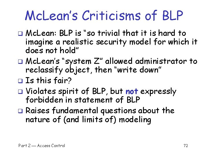 "Mc. Lean's Criticisms of BLP Mc. Lean: BLP is ""so trivial that it is"