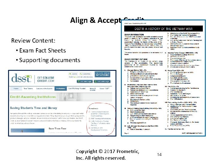 Align & Accept Credit Review Content: • Exam Fact Sheets • Supporting documents Copyright