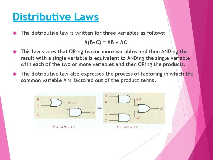 Distributive Laws The distributive law is written for three variables as follows: A(B+C) =