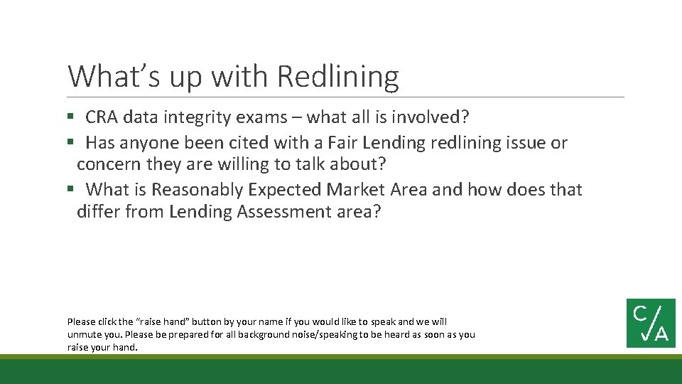 What's up with Redlining § CRA data integrity exams – what all is involved?
